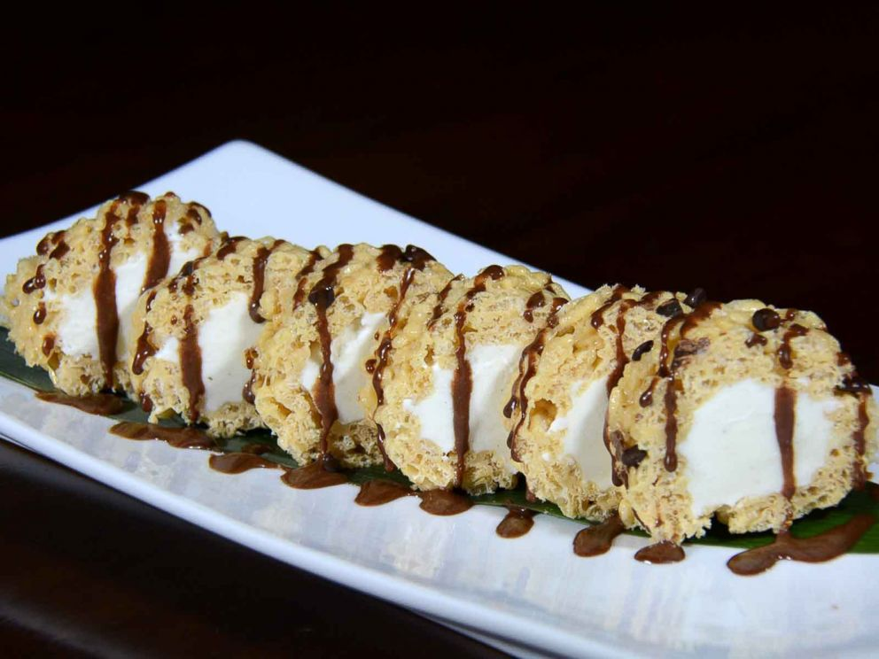 PHOTO: Crispy Rice Sushi Roll: Vanilla ice cream, toffee, chocolate chips and peanut butter.