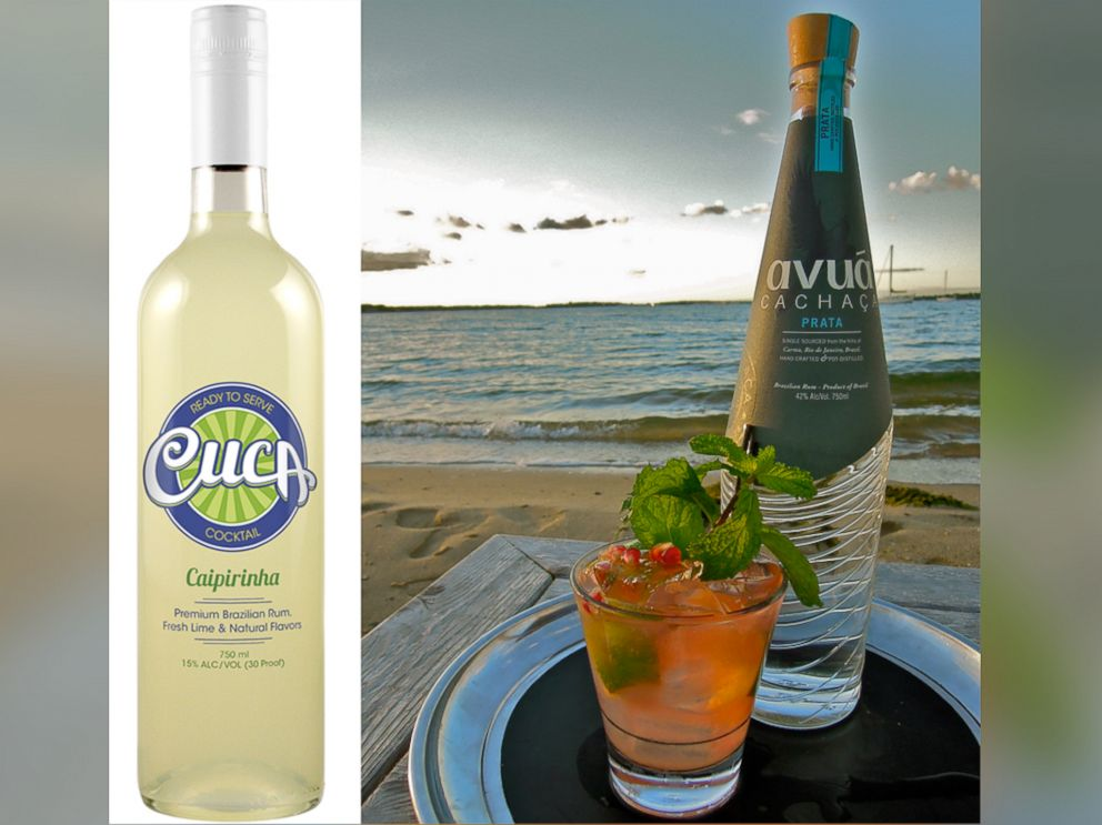 PHOTO: Ready-to-serve caipirinha mix by Cuca (l); and a bottle of Avua cachaca.
