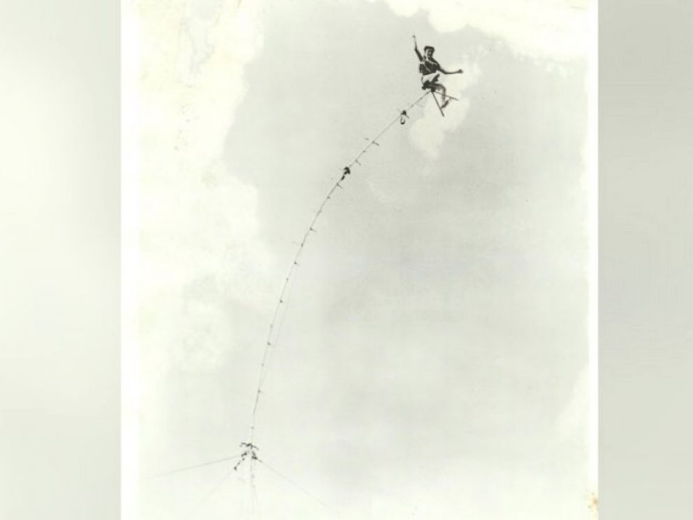 PHOTO: Carla Wallenda, 80, of Sarasota, Florida is seen hanging on a sway pole.