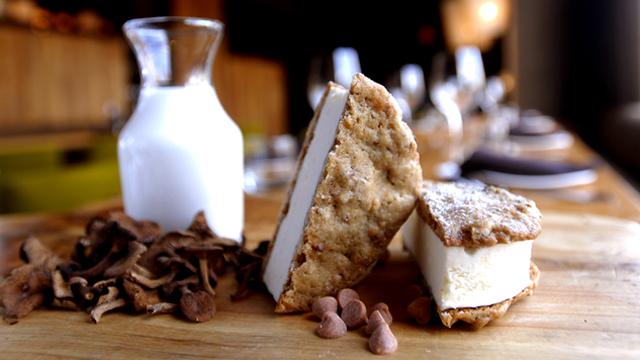 PHOTO:Candy Cap Mushroom Ice Cream Sandwich | Americano at Hotel Vitale, San Francisco