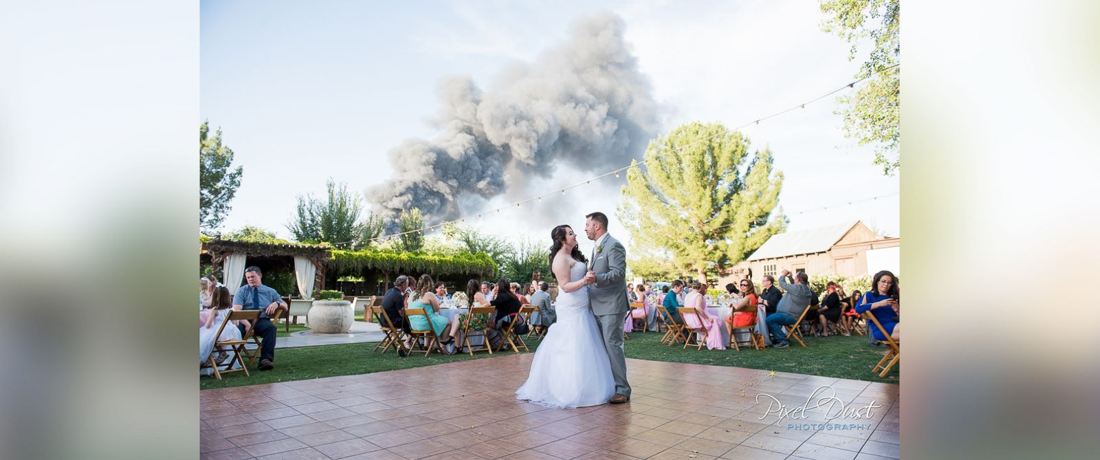 PHOTO: J.T. and Carly Morrissey scored memorable wedding photos thanks to a nearby fire Saturday, April 23 in Gilbert, Ariz.
