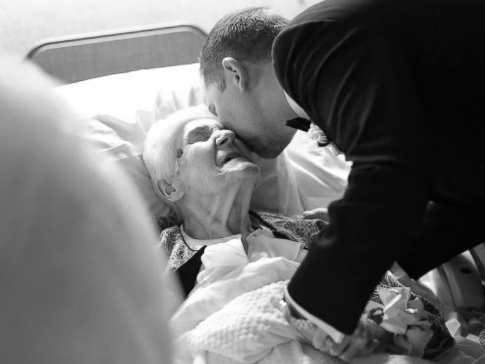 PHOTO: Newlyweds Brian and Lauren Kurtulik surprised Brians 91-year-old grandmother in her hospital room after their wedding ceremony.