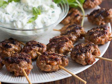 PHOTO: Chef Michael Symons lazy meatball kebabs with yogurt.