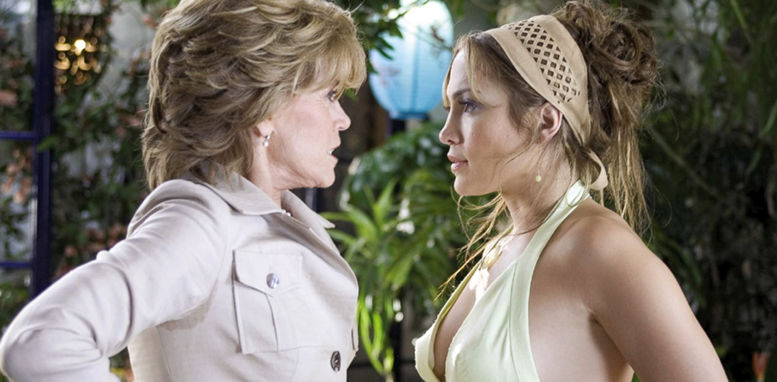 "PHOTO: In this undated promotional photo released by New Line Productions, Jane Fonda, left, as Viola and Jennifer Lopez as Charlie appear in this scene from ""Monster-in-Law."""