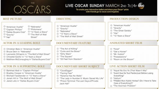 PHOTO: Pass out these ready-made Oscars ballots at your viewing party.
