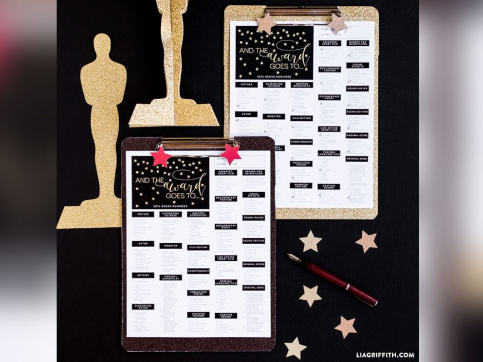 PHOTO: The Lia Griffith blog created a 2016 Oscars Ballot, pictured here.