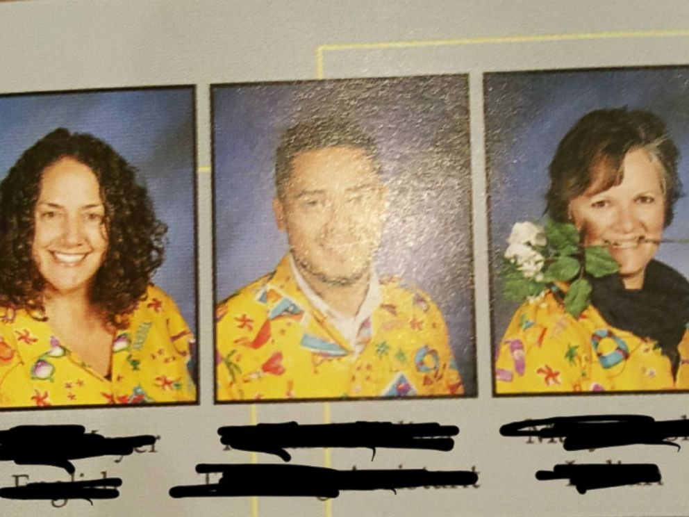 PHOTO:A student convinces nearly 60 students to wear same tacky shirt in yearbook photo.