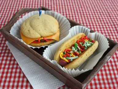 PHOTO: Tastemades hot dog and cheeseburger whoopie pies.