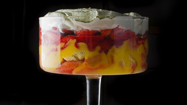 PHOTO: Tasting Tables Easter recipe for Spring Trifle with Meyer Lemon Curd, Macerated Strawberries and Matcha.