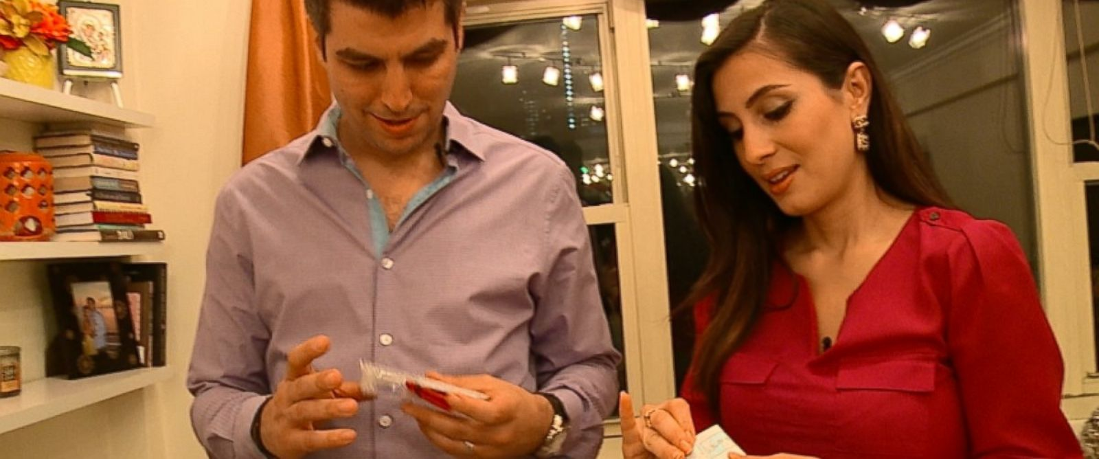 PHOTO: Taso and Maria Pardalis, who have been married for five years, are seen here holding an Instant Chemistry kit.