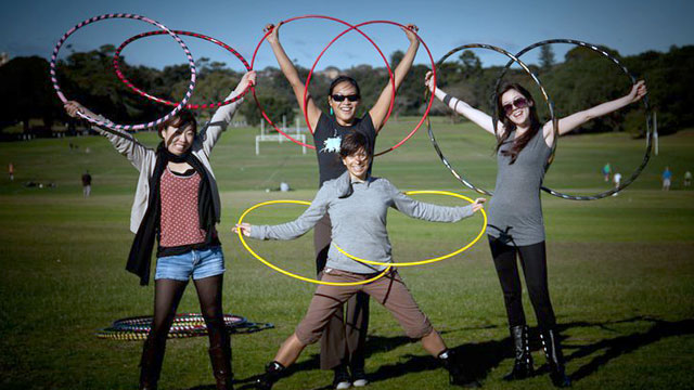PHOTO: Speaking of props, the hula-hooping yogis of Sydney, Australia find a new but clever use for the generation-spanning hoop.