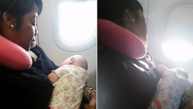 PHOTO: Rebekka Garvison said this woman who held her crying daughter for an entire flight is an angel.