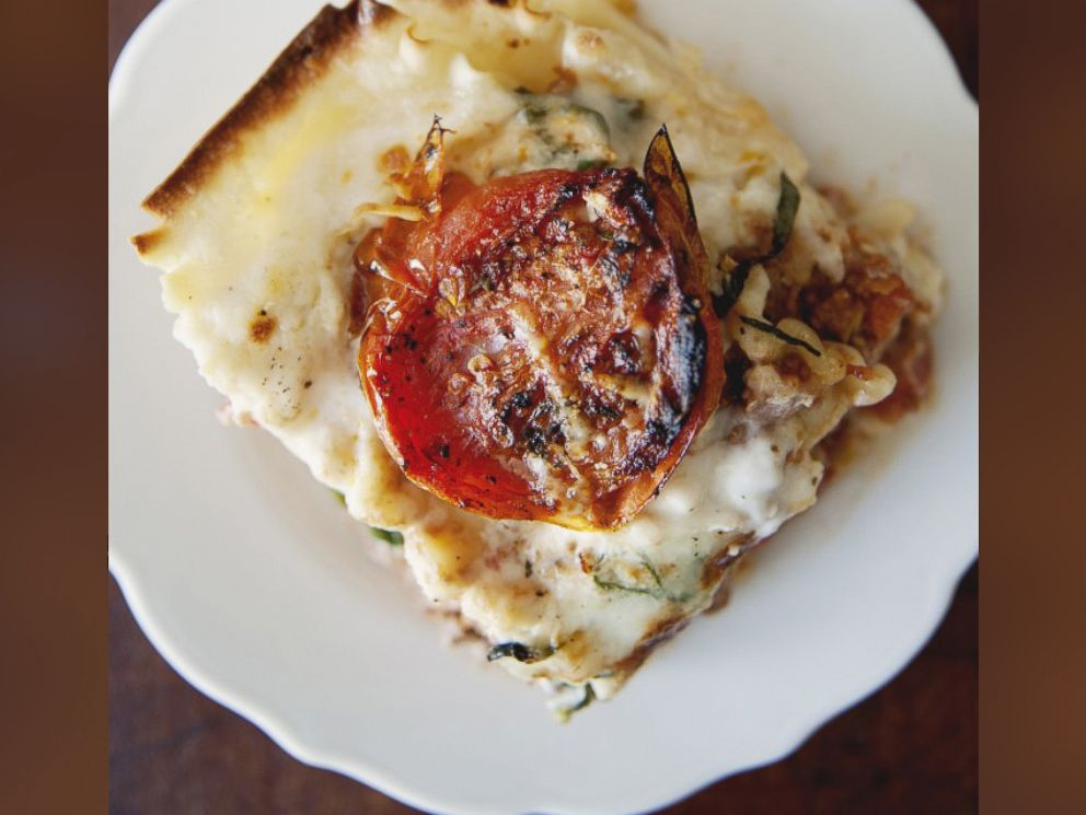 PHOTO: Claire Thomas Classic Lasagna with Ragu Bolognese, Bechamel, Basil, Buratta and Roasted Tomatoes