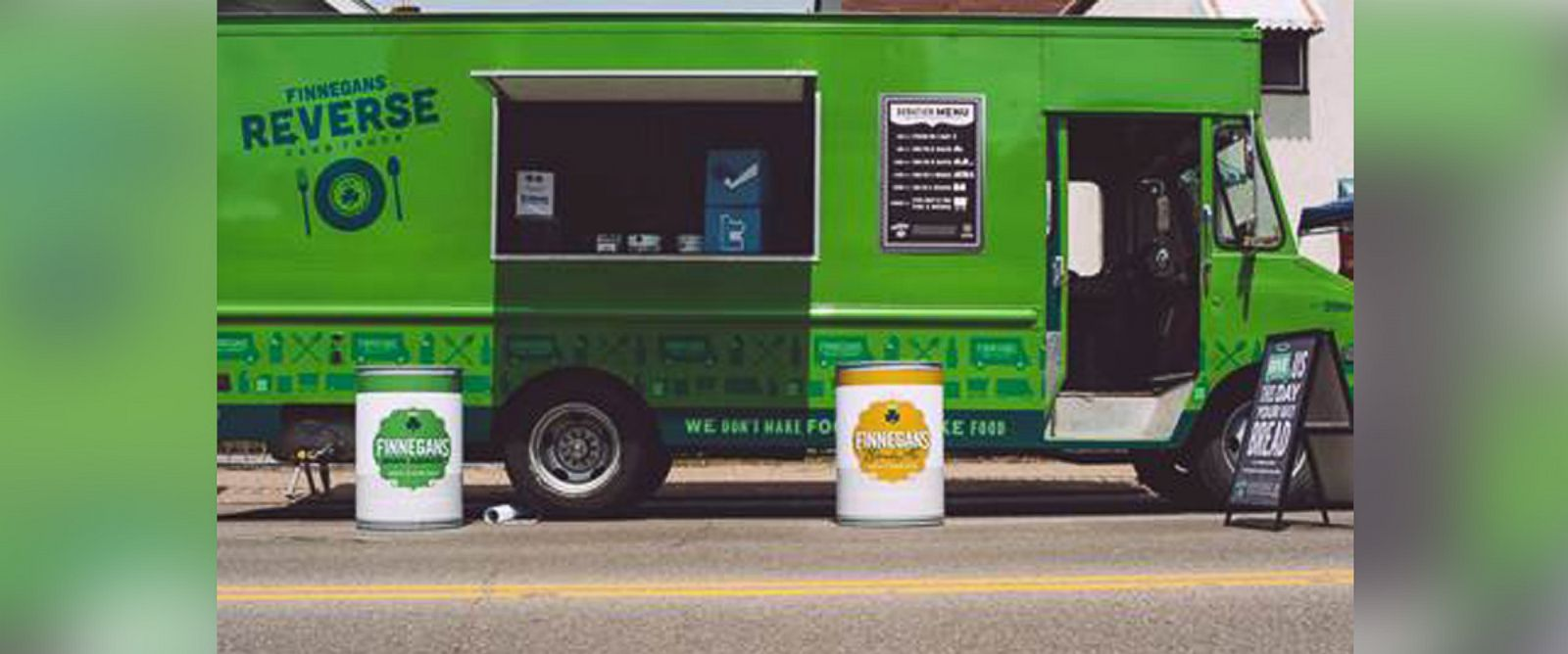 "PHOTO: Finnegans ""Reverse Food Truck"" in Minnesota collects food for those in need."