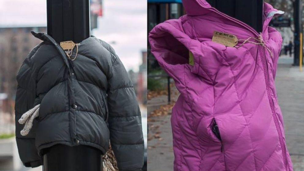 PHOTO: The Halifolks Facebook page shared a photo of the coats tied to lamp posts on Nov. 15, 2015 with the caption, Tags read: I am not lost! If you are stuck out in the cold, please take me to keep warm!