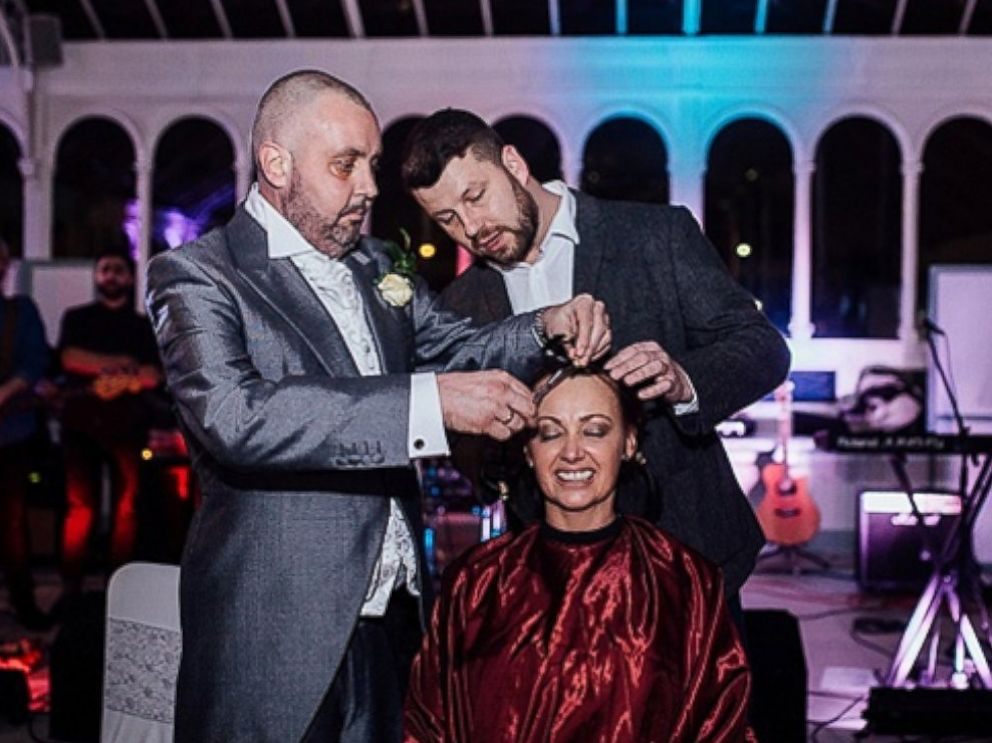 Had her head shaved for charity at the reception following her wedding