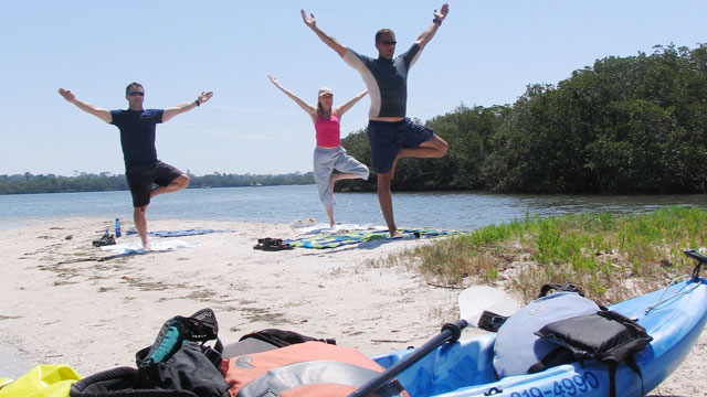 "PHOTO: The cousin to SUP (stand-up paddleboarding) yoga, ""ka-yoga"" is offered in Saint Petersburg, Florida, and has the benefit of requiring slightly less coordination."