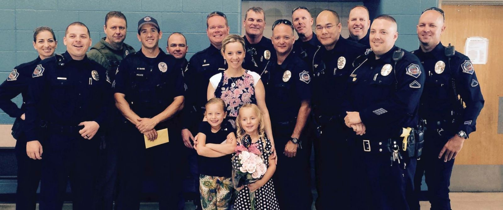 PHOTO: The Mesa Police Department attended Sophia Prinkeys kindergarten graduation, because her father and Mesa police officer Shawn Prinkey is serving in the military in Afghanistan.