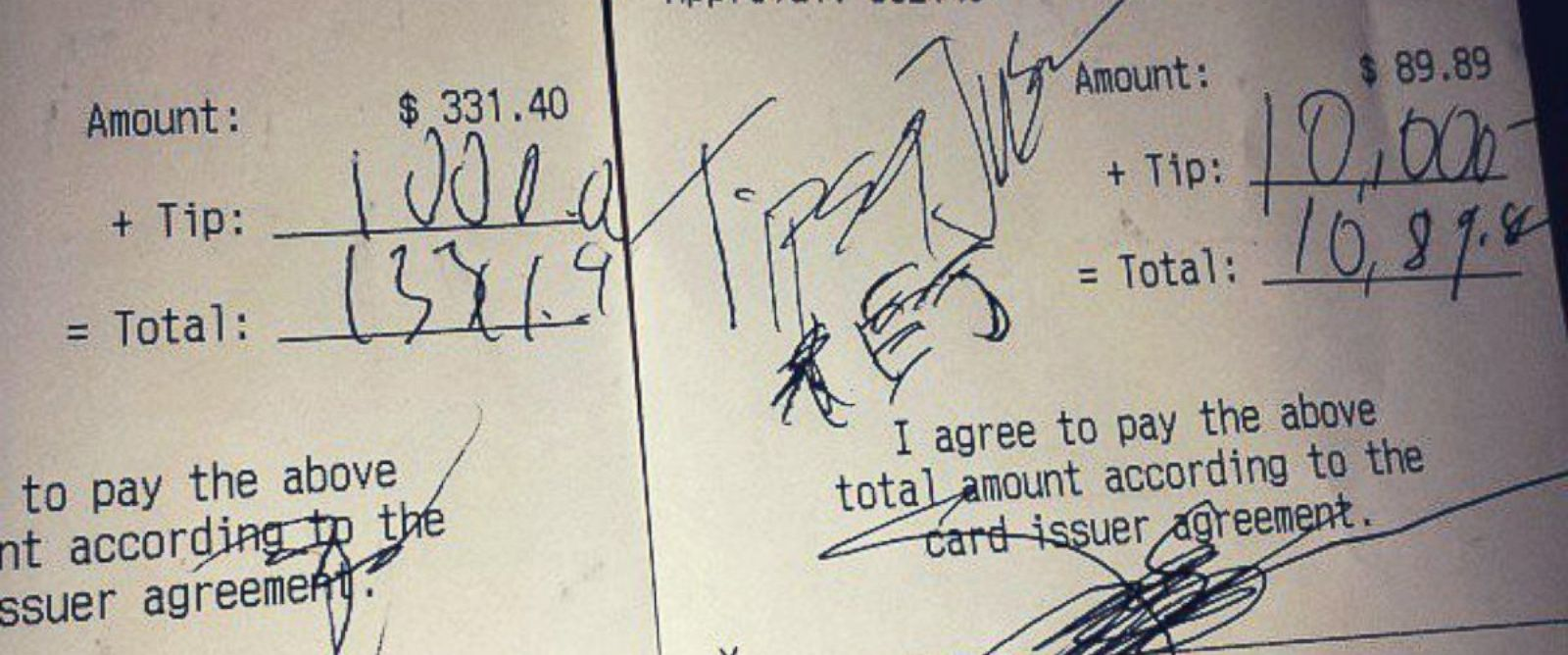 """PHOTO: Instagram user spotty313 showed the $11,000 in tips the anonymous """"Tips for Jesus"""" donor left during a visit to an Arizona restaurant."""