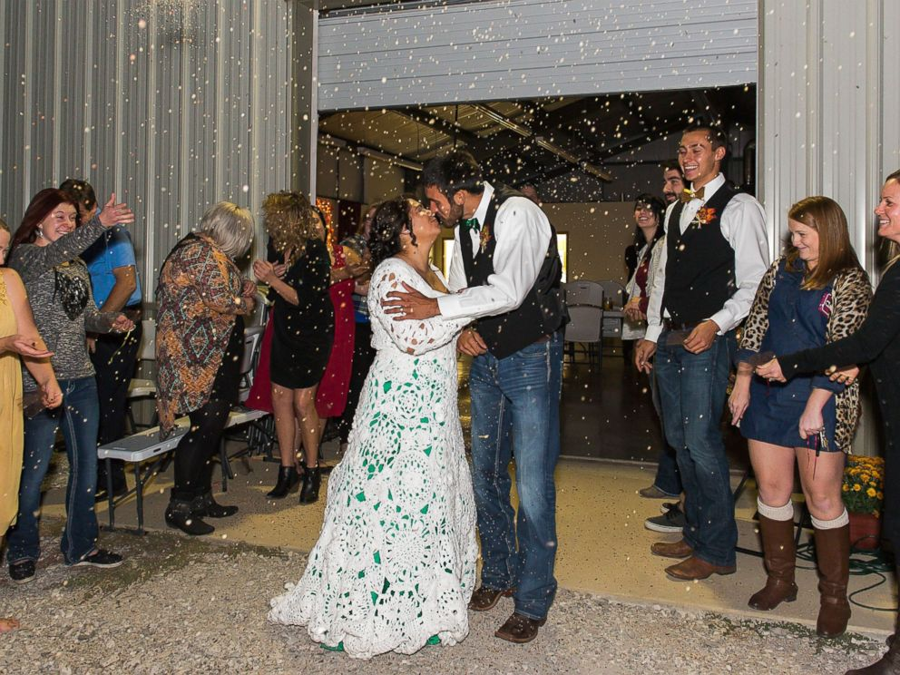 PHOTO: Abbey Ramirez-Bodley spent eight months and $70 crocheting her gorgeous wedding gown.