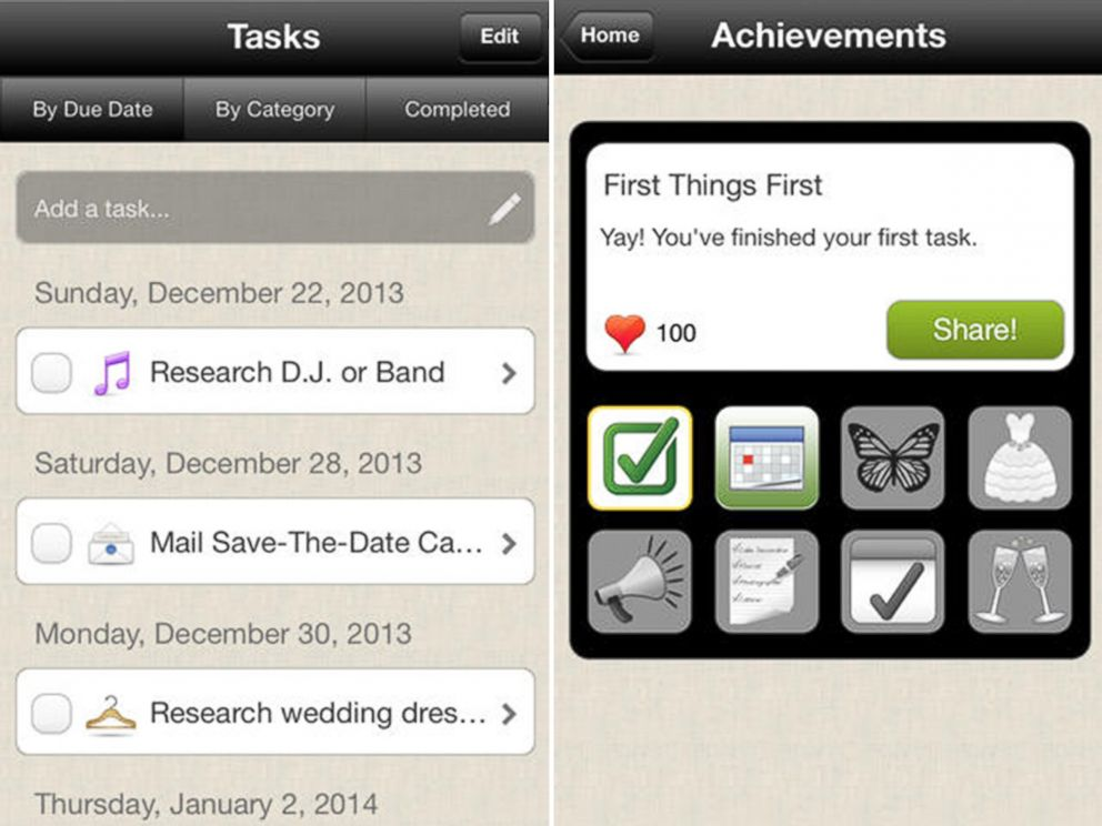 PHOTO: WeddingHappy is a free app for tracking your planning process.