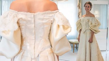 PHOTO: Abigail Kingston tries on a wedding dress, Sept. 22, 2015 that has been passed down in her family for over 100 years and will be the 11th bride to wear it.