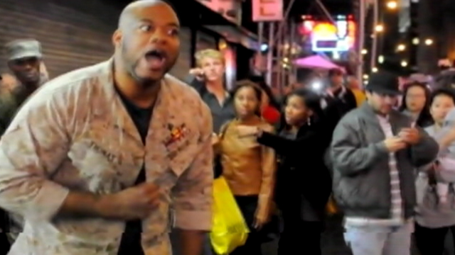 PHOTO:Sgt. Shamar Thomas gets loud after clash between police and protesters.