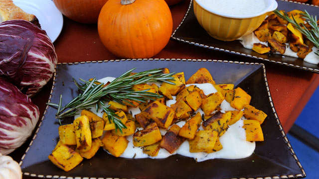 "PHOTO: Mario Batali prepares simple family meals, Roasted Pumpkin with Fontina Fonduta, from his new cookbook ""Molto Batali,"" on GOOD MORNING AMERICA."