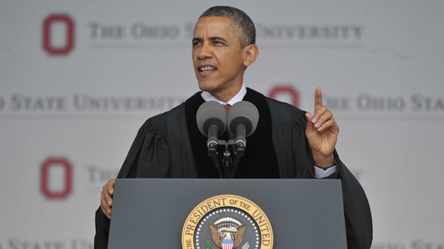 PHOTO: President Barack Obama delivers the commencement address during a ceremony at Ohio State University on May 5, 2013 in Columbus, Ohio.