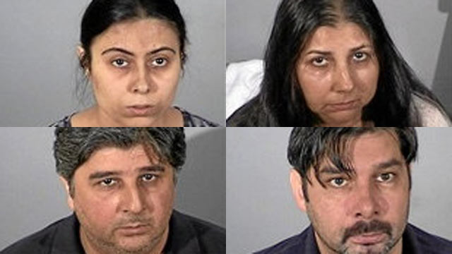 PHOTO: (From top left, clockwise) Adeliya Nassybullina, 30, Austra Bauzinskaite, 34, Przemyslaw Skiba, 31, and Lukasz Karasinski, 37, are Polish gypsies living in Chicago that were arrested for stealing over $3 million from electronics stores in the last