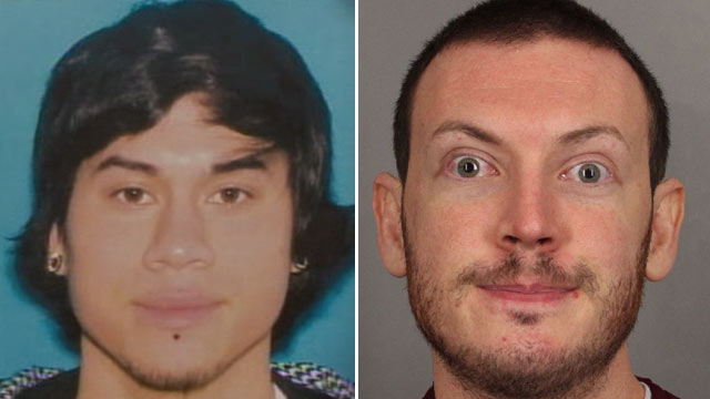 PHOTO: The alleged masked gunman, Jacob Tyler Roberts, who killed two people in the Clackamas Town Center mall in Portland, Ore., Dec. 11, 2012, left, and James Holmes, who was charged in the shooting at an Aurora, Colo., theater on July 20 that killed 12