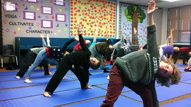 PHOTO: Student yoga class