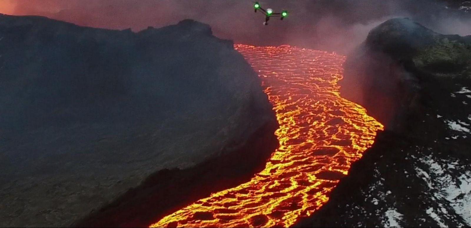 Drones Eye View Inside Erupting Volcano