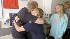 VIDEO: In an emotional reunion, Hardisons five children see their dad for the first time two months after the surgery.