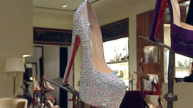 PHOTO: ABC News Juju Chang measures the 7-inch heel on a crystal-covered Christian Louboutin, retailing at $5,995 at Bergdoff?s Goodman in New York City.