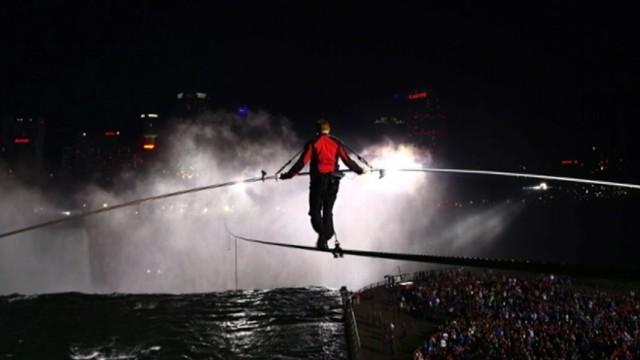 "VIDEO: ""Nightlines"" Bill Weir retraces stuntmans historic walk over Niagara Falls."