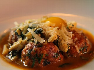 Spicy Duck Meatballs with Mint Cavatelli and Quail Egg