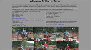 PHOTO Warren Schor, son of Andy and Maxine Schor of Clinton Corners, passed away on Friday, 9/11/09, as a result of complications related to the swine flu. He was attending his third year of college at Cornell University, where he was majoring in business