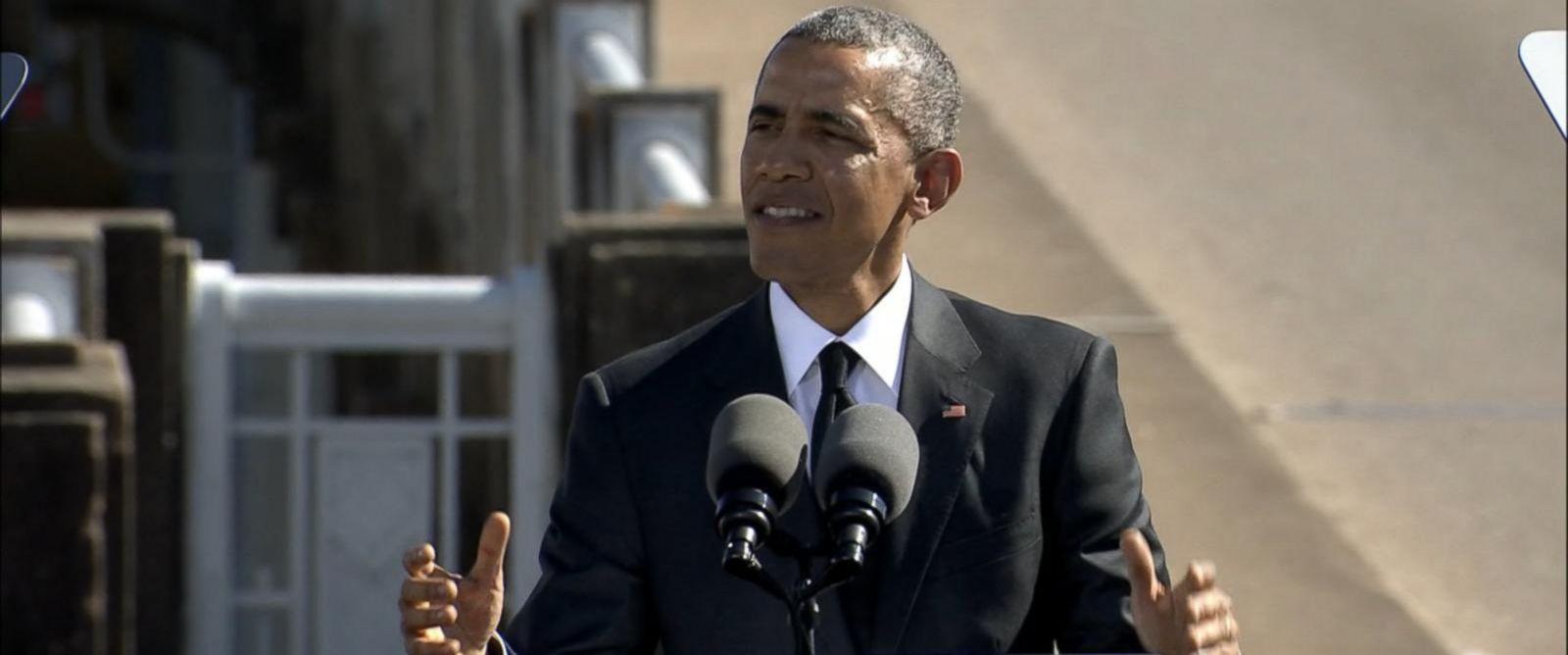 PHOTO: President Barack Obama delivers remarks at the Edmund Pettus Bridge in Selma, Ala., March 7, 2015.