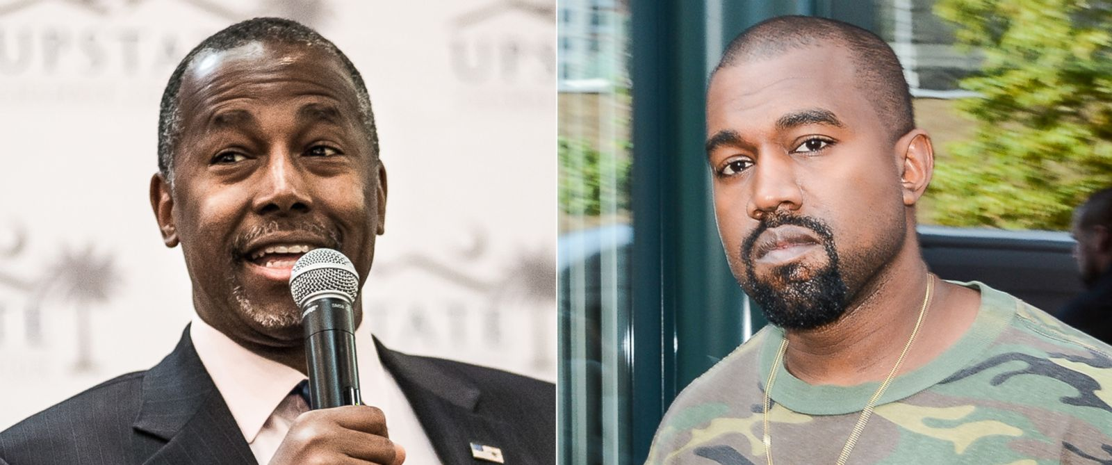 PHOTO: Republican presidential candidate Ben Carson in Greenville, S.C., Sept. 18, 2015. | Kanye West in New York City, Sept. 9, 2015.
