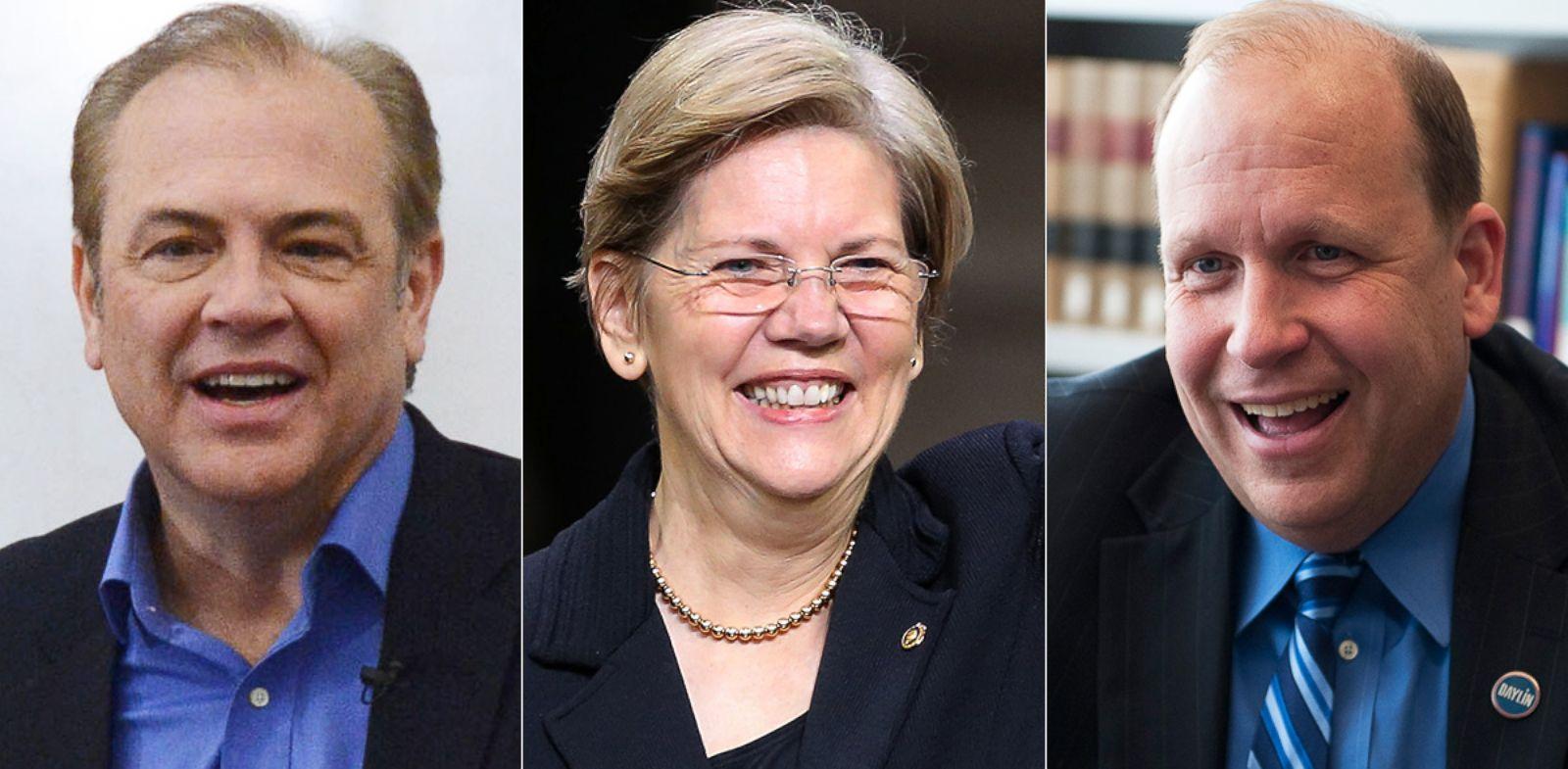 PHOTO: Rick Weiland is pictured on Feb. 4, 2014, in Sioux Falls, S.D. Sen. Elizabeth Warren is pictured on Jan. 6, 2014 in Boston, Mass. Daylin Leach is pictured on Apr. 23, 2013 in Washington, D.C.