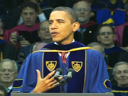 President Obama addresses abortion at a Catholic university.