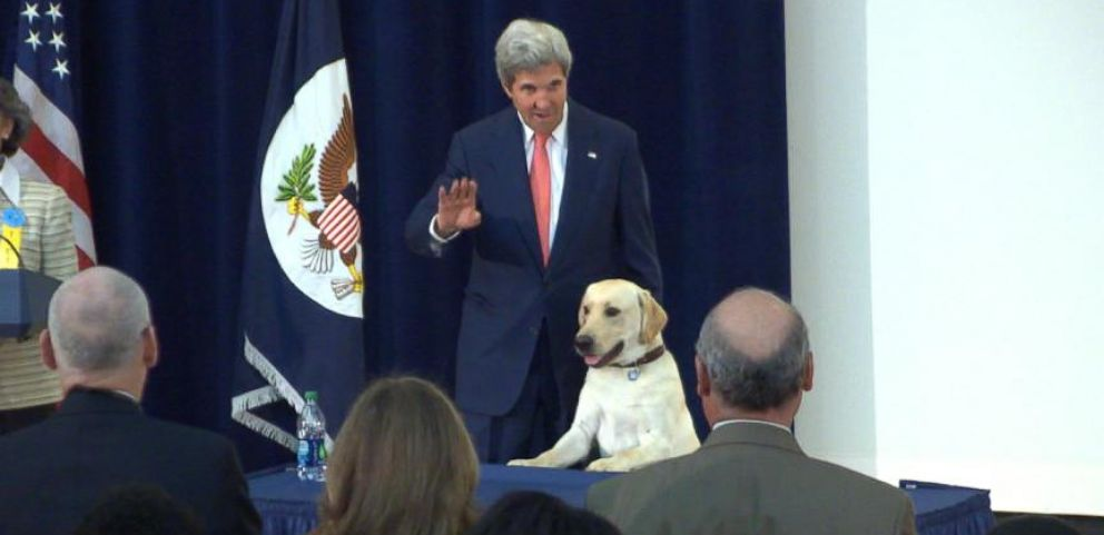 VIDEO: Secretary John Kerry Brings His Dog to Work