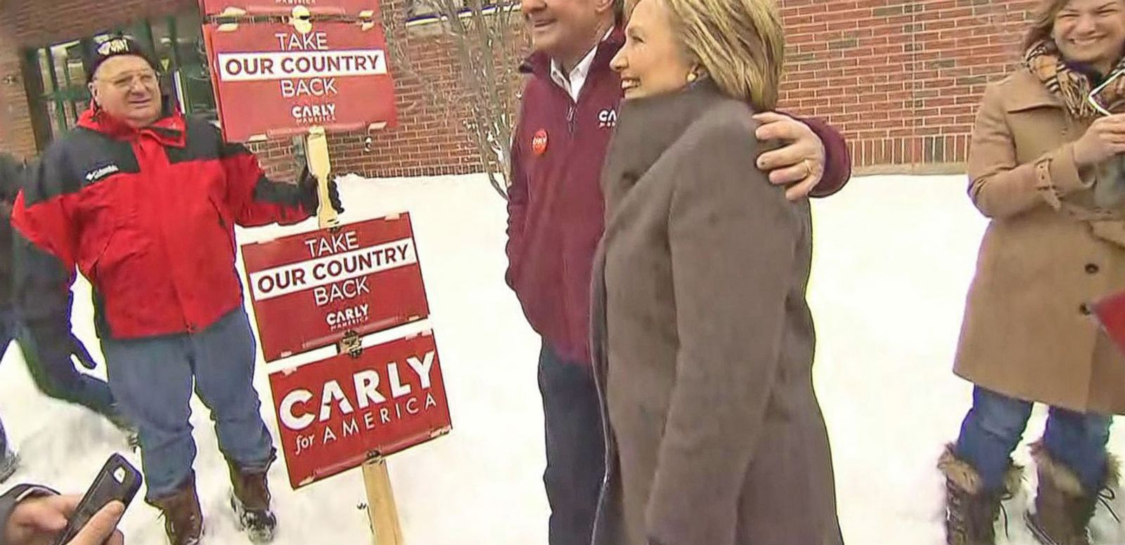VIDEO: Hillary Clinton runs into Carly Fiorina's Husband at New Hampshire Polling Place