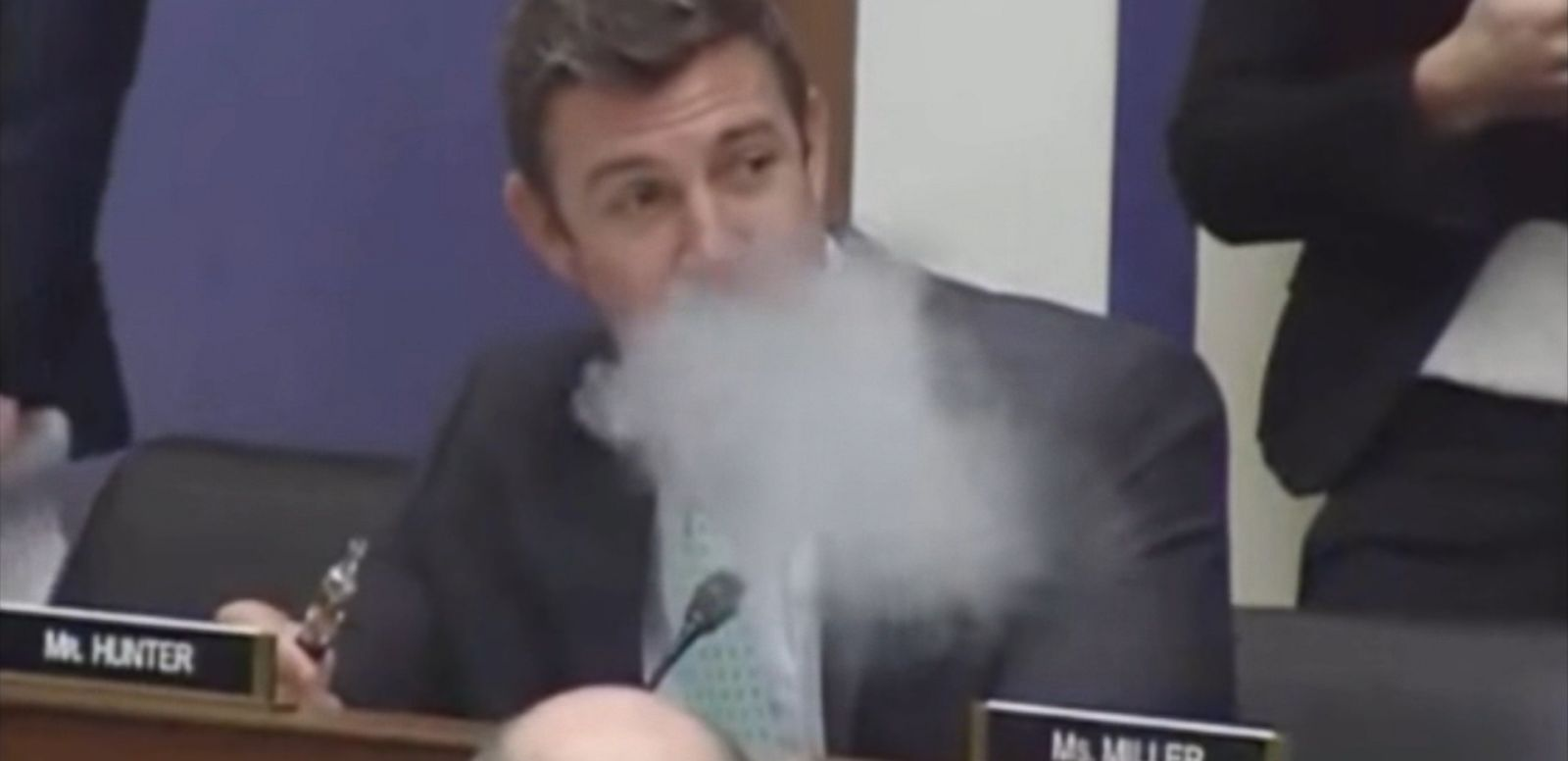 VIDEO: Rep. Duncan Hunter busted out his vaporizer in a House Transportation Committee hearing today while debating an amendment from Rep. Eleanor Holmes Norton, D-DC, that would formally ban the use of vaporizers and e-cigarettes on airplanes.