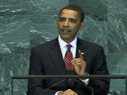 Video of President Obama addressing the United Nations general assembly on international responsibility.