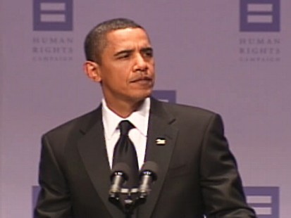 Video of President Obama addressing the Dont Ask, Dont Tell policy at the Human Rights Campaign dinner in Washington, D.C.