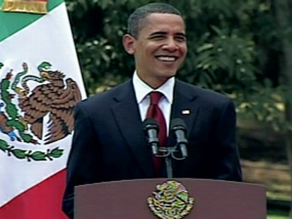 Video of President Obama pledging full partnership with Mexican President Calderon to fight drug cartels.