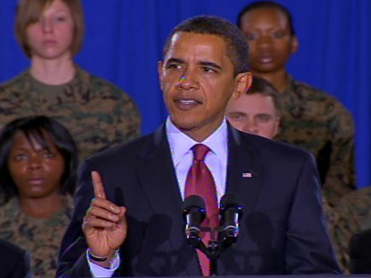 Video of Barack Obama talking about raising military pay during a speech at Camp Lejeune.