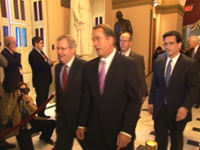 Video of Republicans marching to caucus on Democratic health reform efforts.